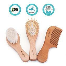 3PCS Wooden Baby Hair Brush and Comb Set for Toddlers Infant