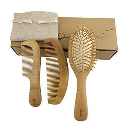 3 Pcs Hair Brush Massage Scalp Comb w/ Wooden Bristles and W