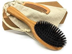 THREEOFLIFE Boar Bristle Hair Brush Set for Women Men Design