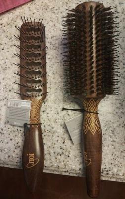 ION Hair Brush Wood Boar Bristle Nylon Blend Paddle Gold Etc