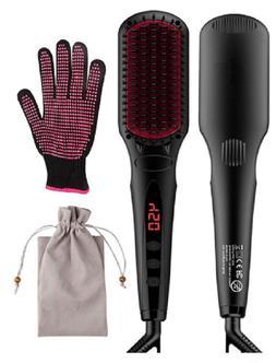 Hair Straightening Brush. Premium Ceramic 2-in-1 Ionic Strai