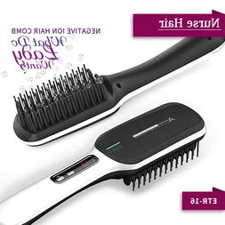 Hair Straightening Electric Heated Brush Tourmaline Ceramic