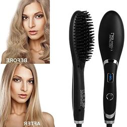 Ionic Hair Straightener Brush, LED Display/Adjustable Temper