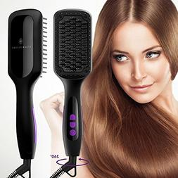 Ionic Hair Straightener Brush, GLAMFIELDS Electrical Heated
