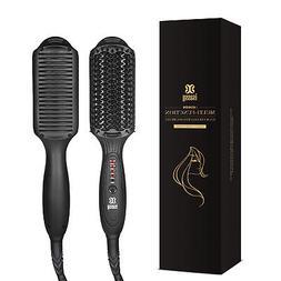 Ionic Hair Straightener Brush Electric Comb Temperature Lock