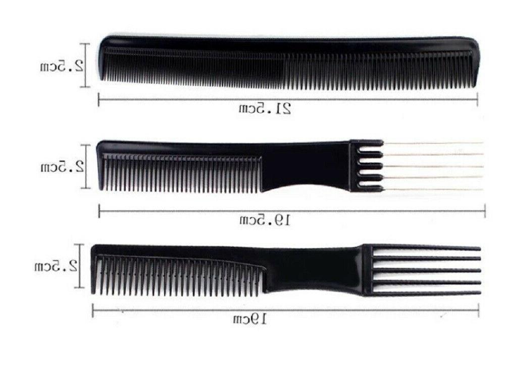 10Pcs Black Pro Hair Hairdressing Barbers Brush