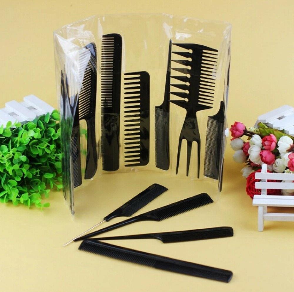 10Pcs Black Pro Hair Plastic Barbers