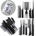 10Pcs Hair Styling Comb Set Professional Black Hairdressing