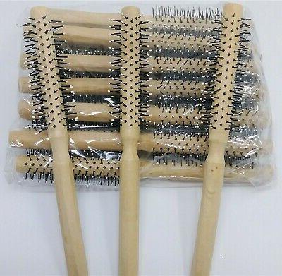 12 hair brush round natural wood nylon