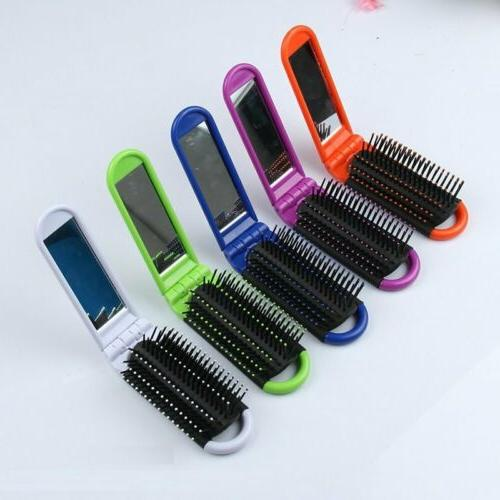 1pcs new folding hair brush mirror compact