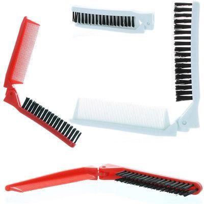 2 folding hair compact travel brush comb