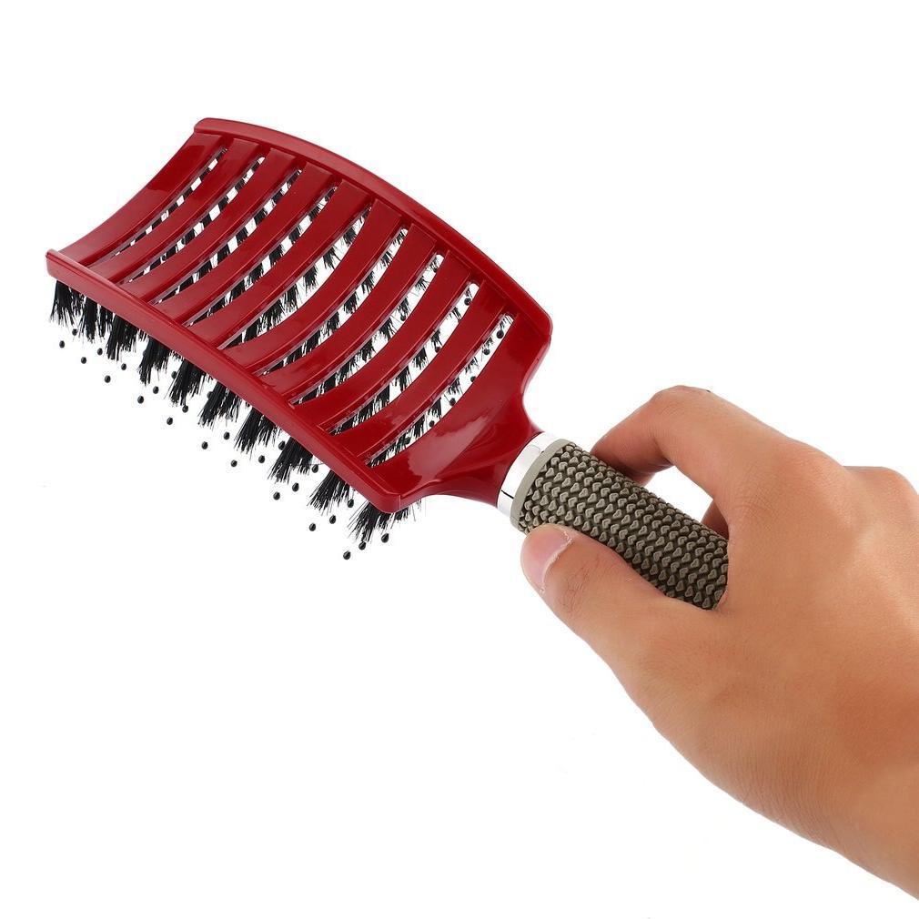 Massage Bristle Nylon Hairbrush Wet Detangle Salon