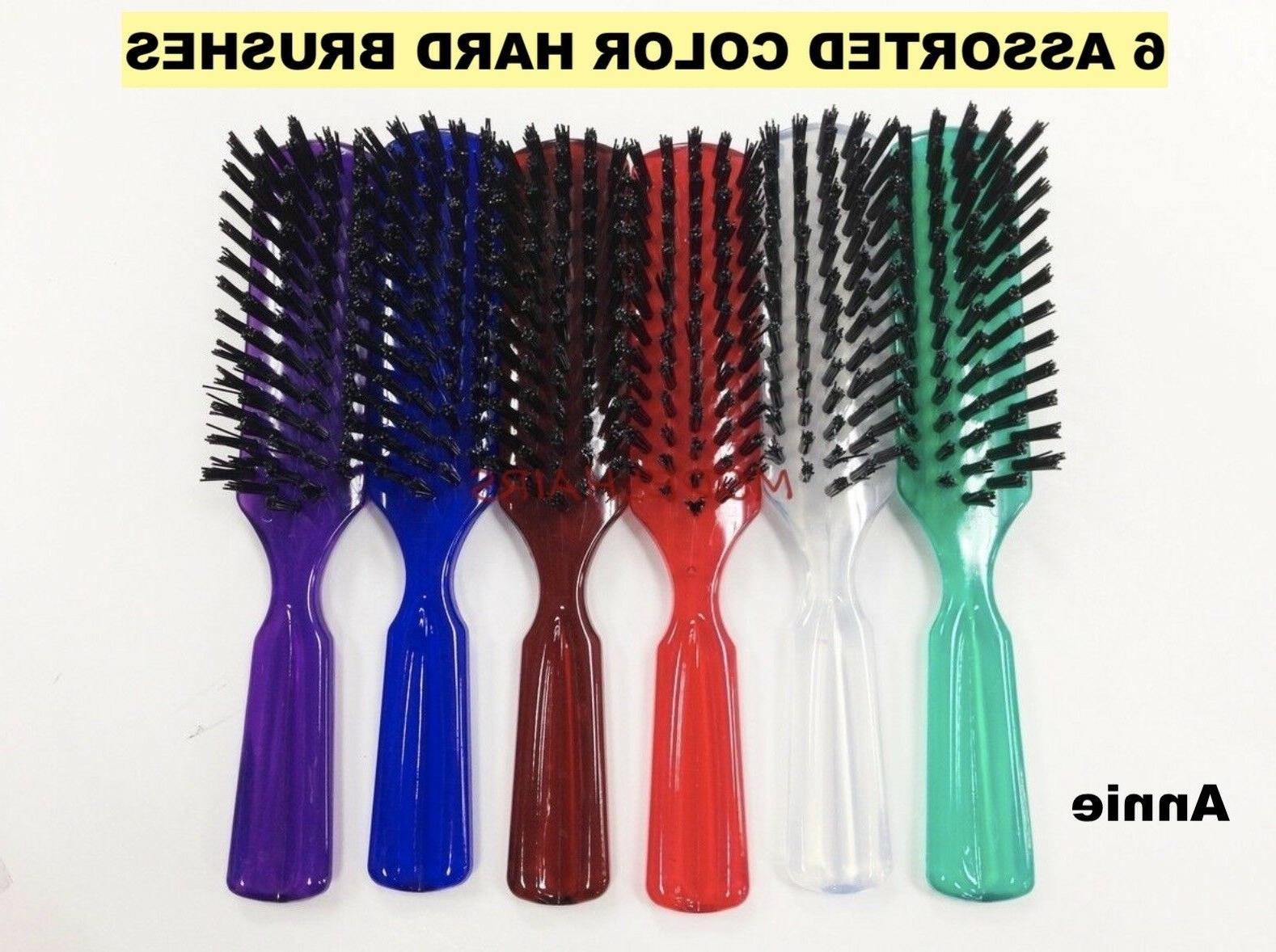 """ANNIE 6 ASSORTED COLORS HARD BRUSH FOR HAIR DAILY BRUSH 8""""X"""