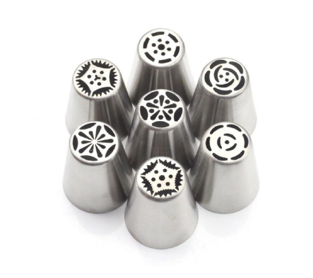 7Pcs Russian Flower Piping Nozzles Pastry Cake Baking Tools Set