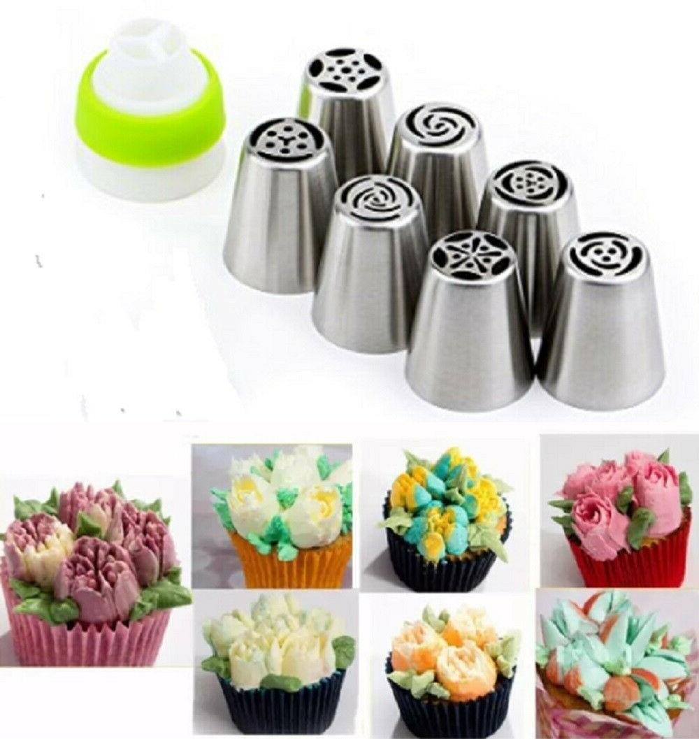 7Pcs Russian Flower Icing Piping Nozzles Pastry Tips Cake DI