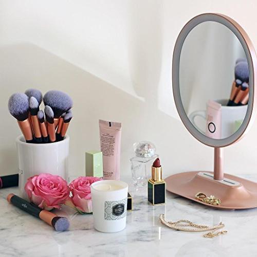 Anjou Makeup Brush Set, 16pcs for Foundation Blending Concealer Shadow, Synthetic Bristles, PU Leather Rose Golden