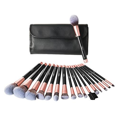 Anjou Makeup 16pcs Premium Cosmetic for Blending Blush Concealer Eye Synthetic Leather Roll Clutch Included, Rose