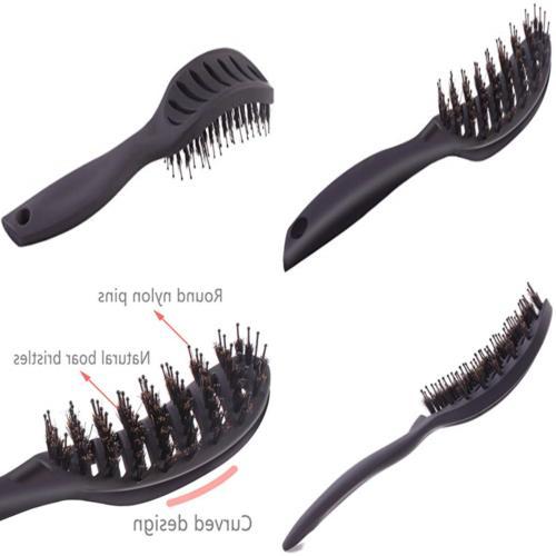 Boar Bristle Vented Hair Brush, Curved Detangling Blow Dryin