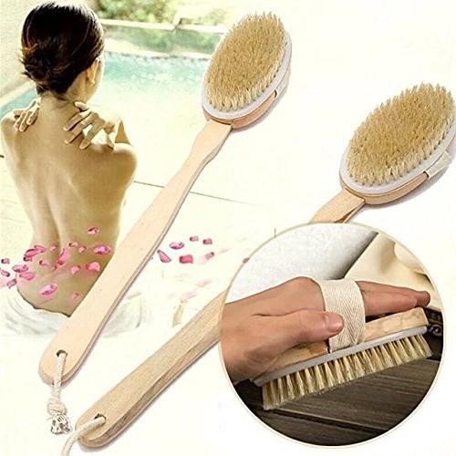 EYX Formula Handle Boar Bristle Bath Body Massage Shower Skin Exfoliation