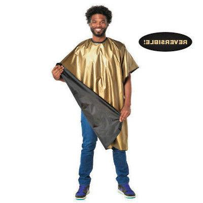 barber cape with gold and reversable to
