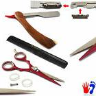 Barber Hair Salon Scissors Folding Shaving Razor Wood Straig