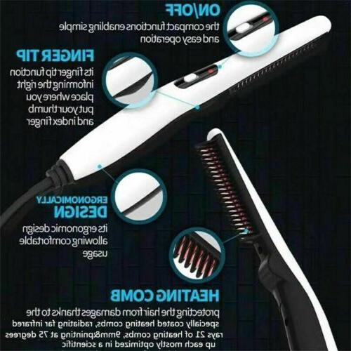 Beard Straightener Comb Heated Brush Mens Hair
