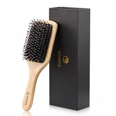 - Hair Brush, Sosoon Boar Bristle Paddle Hairbrush for Long