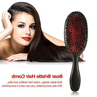 Boar Nylon Hair Brush Anti-static Paddle Scalp G4F3