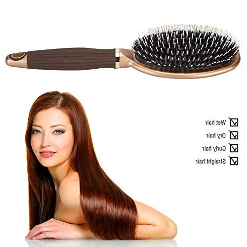 Boar Bristle Paddle Brush,Detangling &Smoothing Hair,Designed for Men,for Thick, Thin, Curly Janrely
