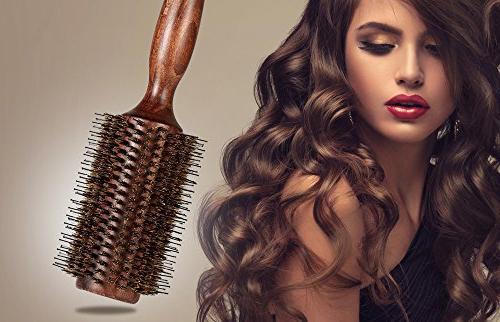 BESTOOL Hair Brush-Boar Round Hair with Nylon Pin Large Round Brush Men, Women, Drying, Dry, and
