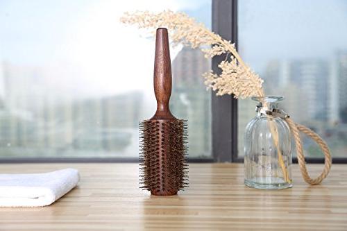 BESTOOL Brush-Boar Round Nylon Wooden Detangling Large Round Brush Men, Women, Drying, Dry, Wet, and Volume