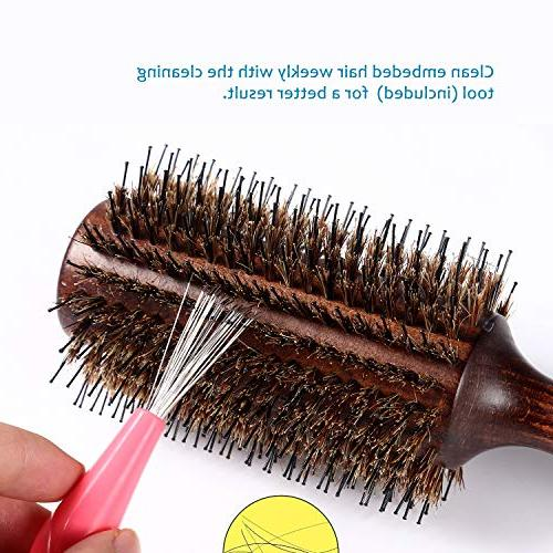 Round Brush with Nylon Pin Wooden Detangling Large Round Brush for Men, Women, Kids Drying,