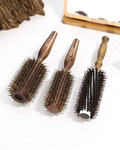 BESTOOL Hair Bristle Round Brush with Nylon Wooden Detangling Large Brush for Men, Women, Kids Drying, and Hair, Adding Volume and