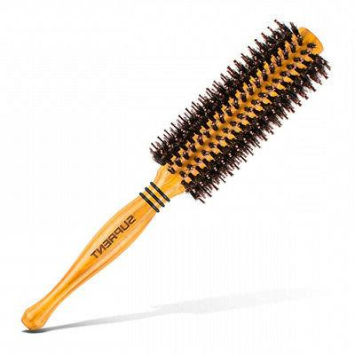 boar bristle round hair brush with wood