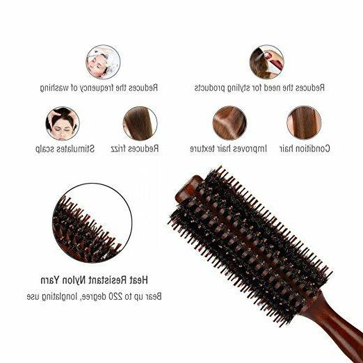 Boar Bristles With Wood Round Comb,