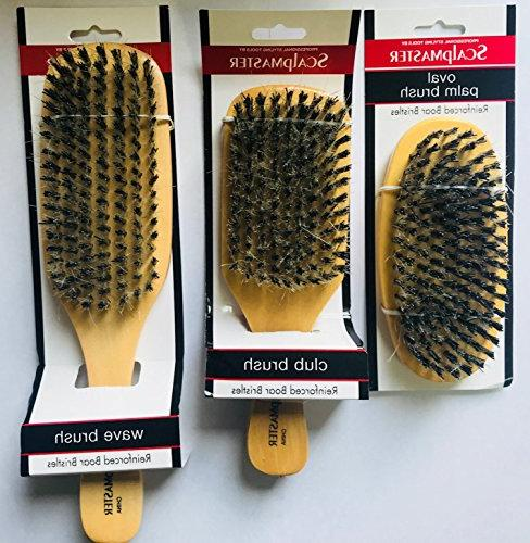 Scalpmaster of 3 Medium to Firm Oval and Wave Unisex - For Stimulating Hair Damage