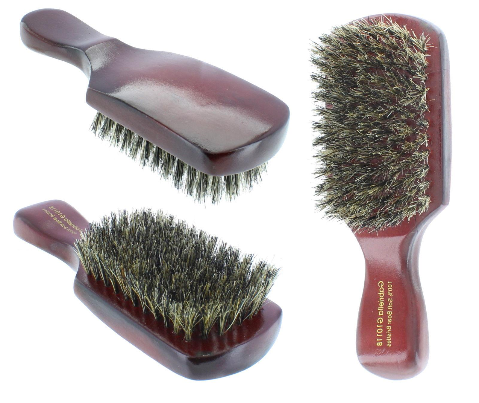 100% Pure Soft Boar Bristle Club Hair Brush Natural Wood Han