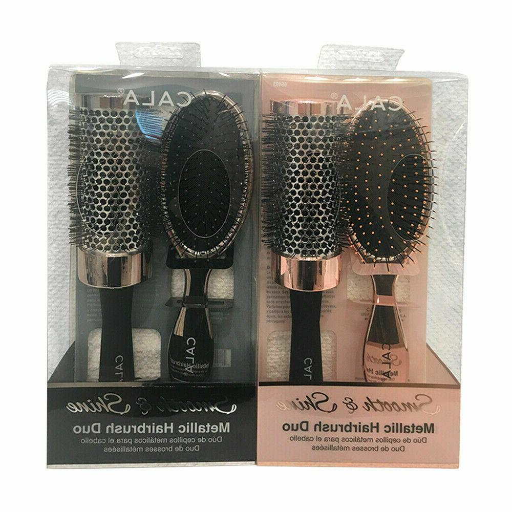CALA Smooth & Shine Metallic Hairbrush DUO Wet-N-Dry Detangl