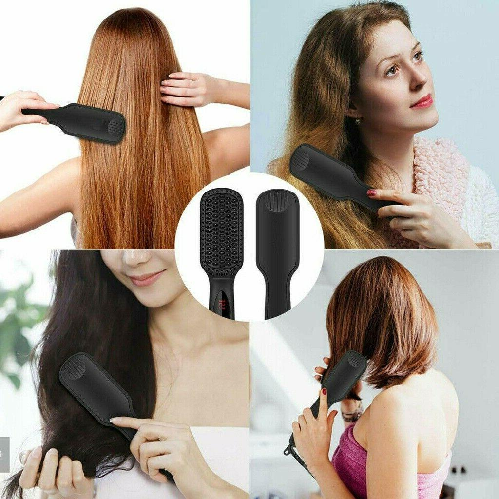 Hair Straightening Brush Heating Comb