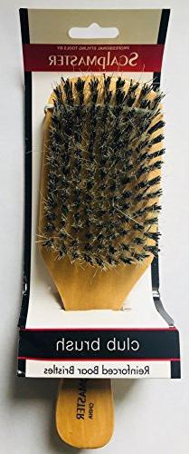 Scalpmaster Club Boar Bristle Set - Medium Bristles Hair Texture, Reducing Hair For Women