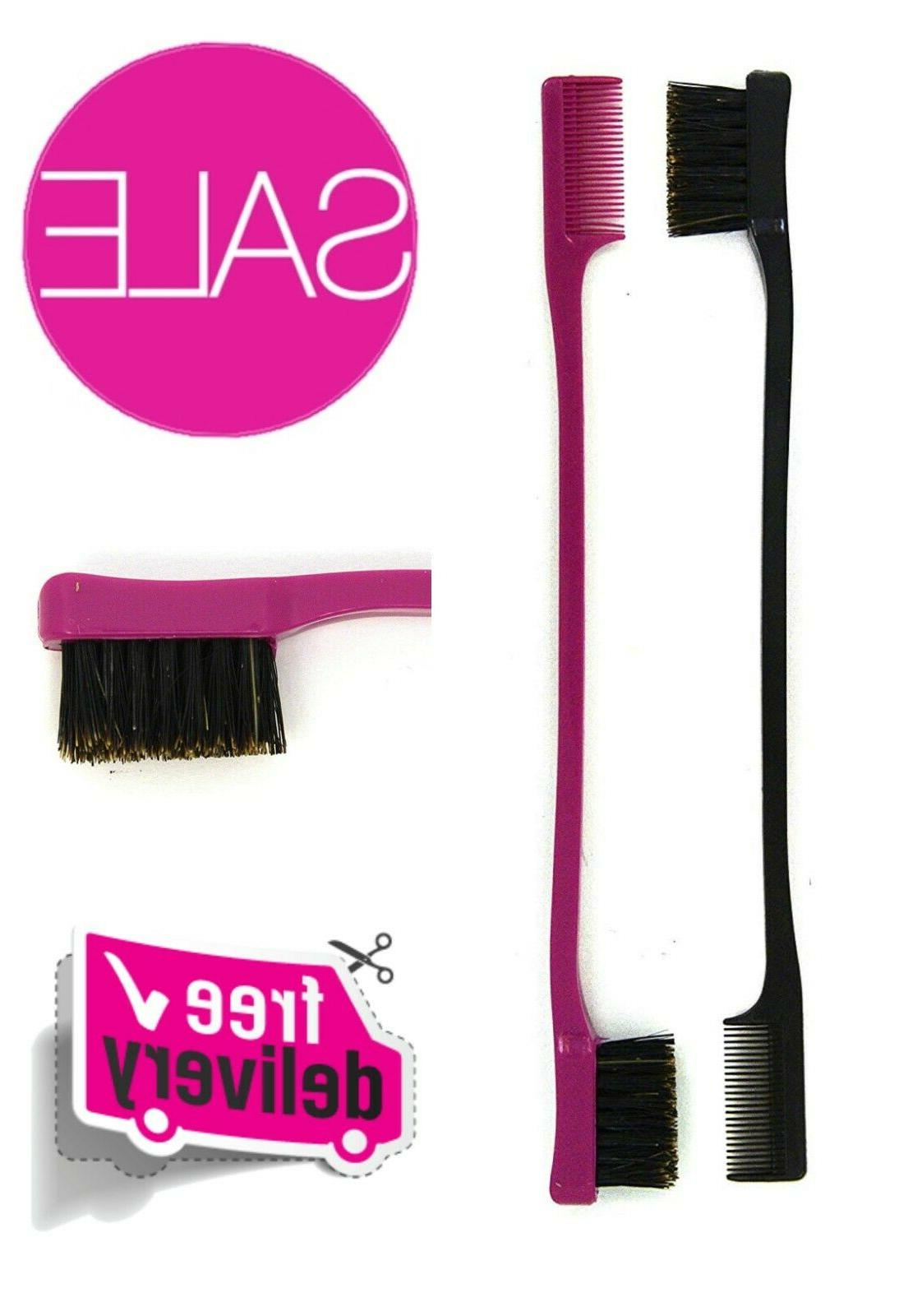 2 Pack Double Sided Edge Control Hair Brush Comb Combo Great