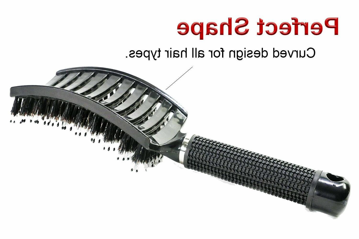 Curved Vented Boar Bristle Styling Brush, Any Type or Women