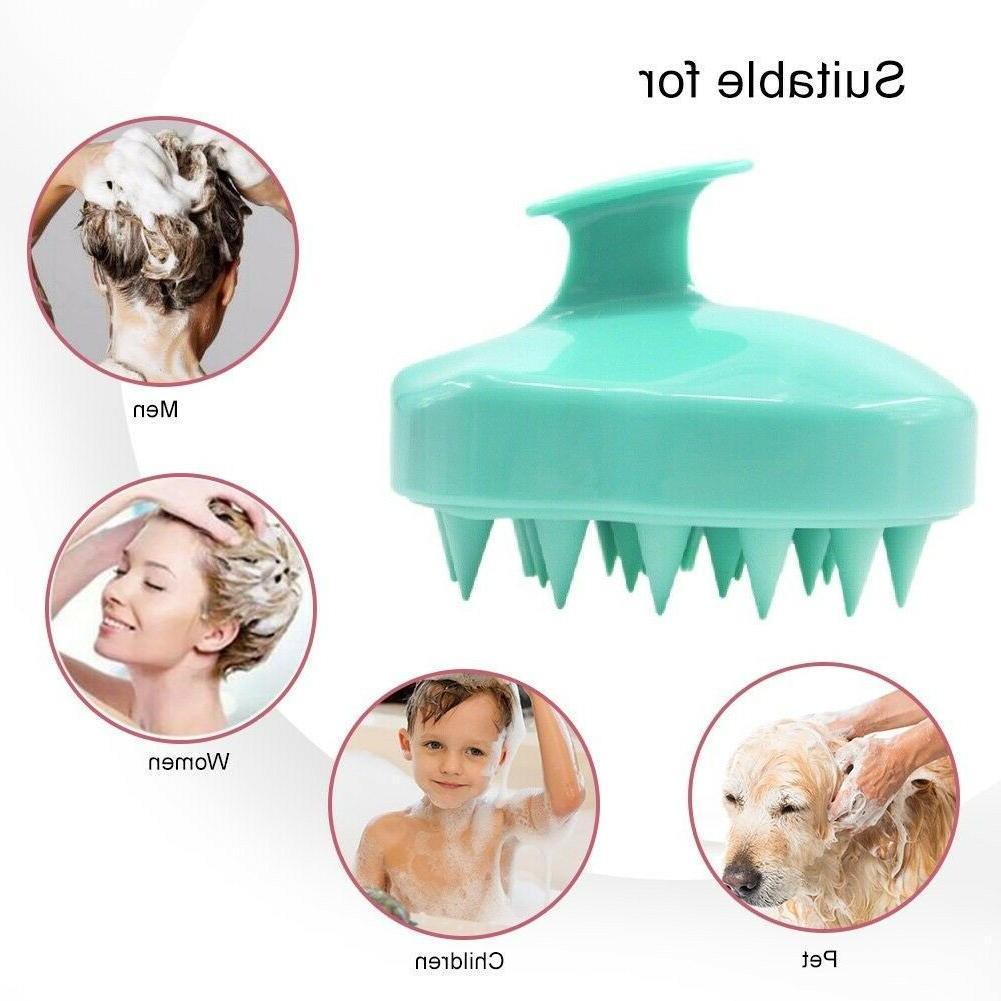 dandruff relief scalp brush shampoo massaging silicone