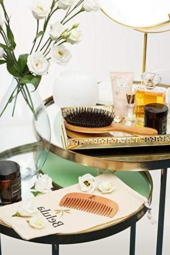 Detangling Hair Brush for Men Thick, Long Hair. And Restores Shine And Your Hair. Wooden Travel Bag & Headband