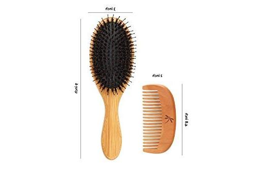 Detangling Boar Bristle Brush Set for Women, Men And With Thick, Long And Curly Hair. And Shine Texture Your Comb, Travel Bag & Spa Headband