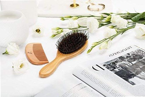 Detangling Boar Brush Set for Men And With Thick, Curly Hair. Detangles Shine And Texture To Your Wooden Travel & Spa Headband