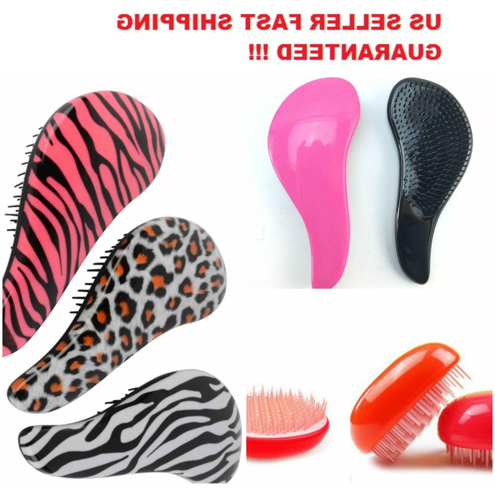 Detangling Hair Brush Comb Zebra Cheetah Animal Egg Wet Dry