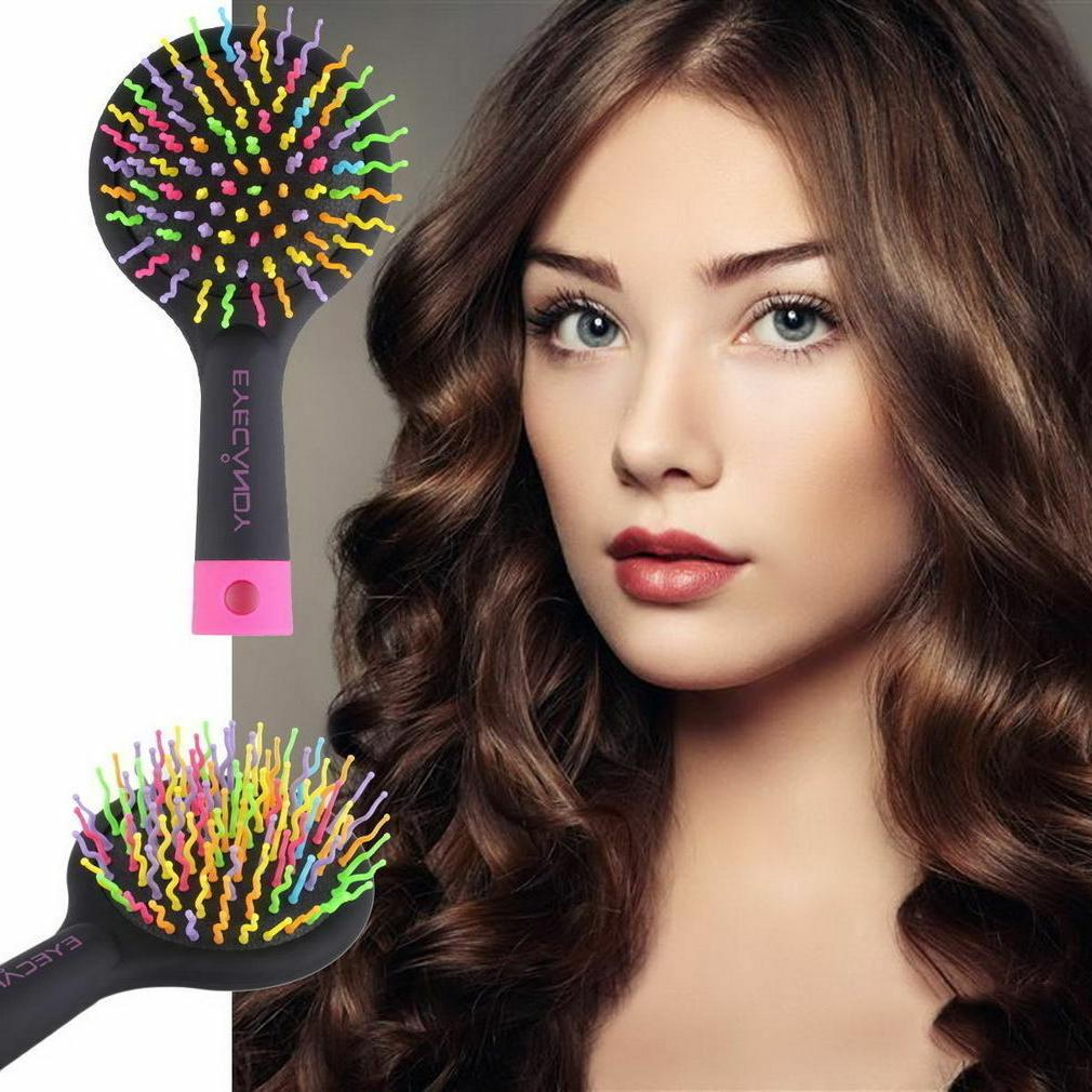 Detangling Hair Brush Rainbow Volume Anti-static Hair Curl S