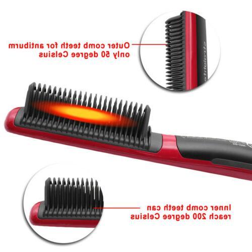 Men's Quick Heated Beard Straightener Brush Comb Curling Show