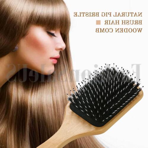 Fashion Wood Natural Boar Bristle Hair Paddle Hairbrush
